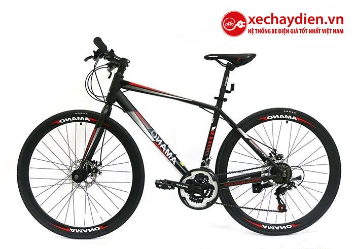 Xe đạp Amano AT100 mới nhất màu đen đỏ